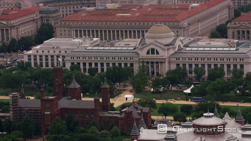 Washington, D.C. Aerial view of the Smithsonian Castle and National Museum of Natural History.  Shot with Cineflex and RED EpicW Helium.