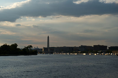 The Washington Monument silhouetted by the setting sun on a Potomac River cruise in Washington DC.