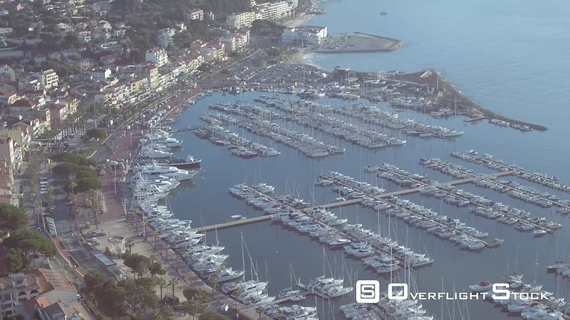 Aerial view of Bandol port, filmed by drone, Bandol, France