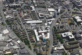 Preston aerial photograph of Student accommodation In iQ Preston ( Kopa) and Sanctuary Moor Lane Halls looking towards Walker Street