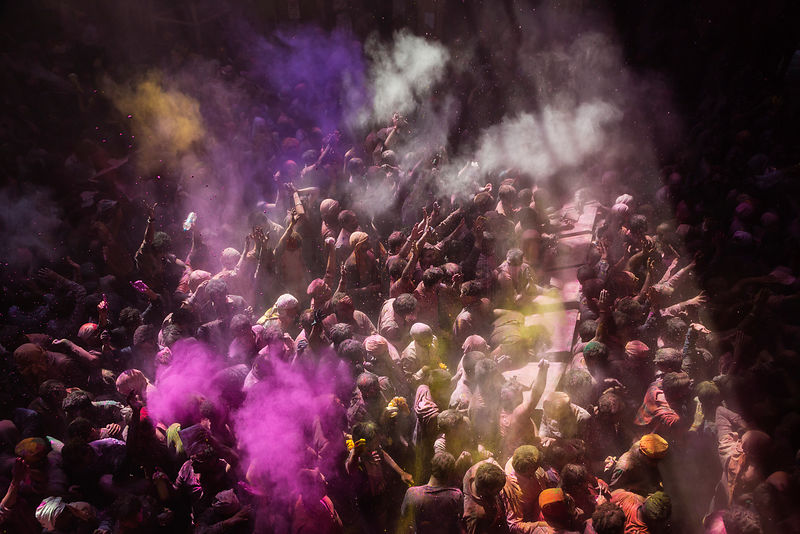 Revellers Playing Holi in the Shri Banke Vihari Mandir