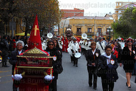 Penitents carrying the Holy Sepulchre during Good Friday procession, Plaza Murillo, La Paz, Bolivia