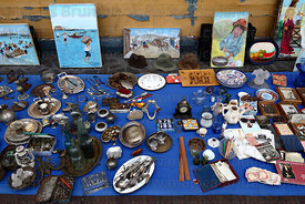 Antiques and curios stall in Baquedano Street , Iquique , Region I , Chile
