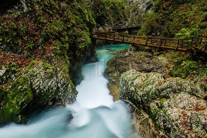 The Soteska Vintgar gorge in Autumn, Gorje, near Bled, Slovenia