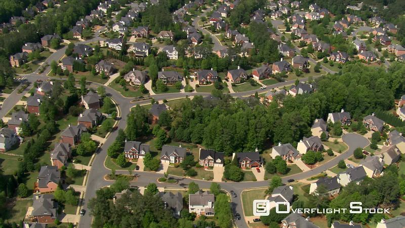 High flight over suburban neighborhood in Atlanta, Georgia.