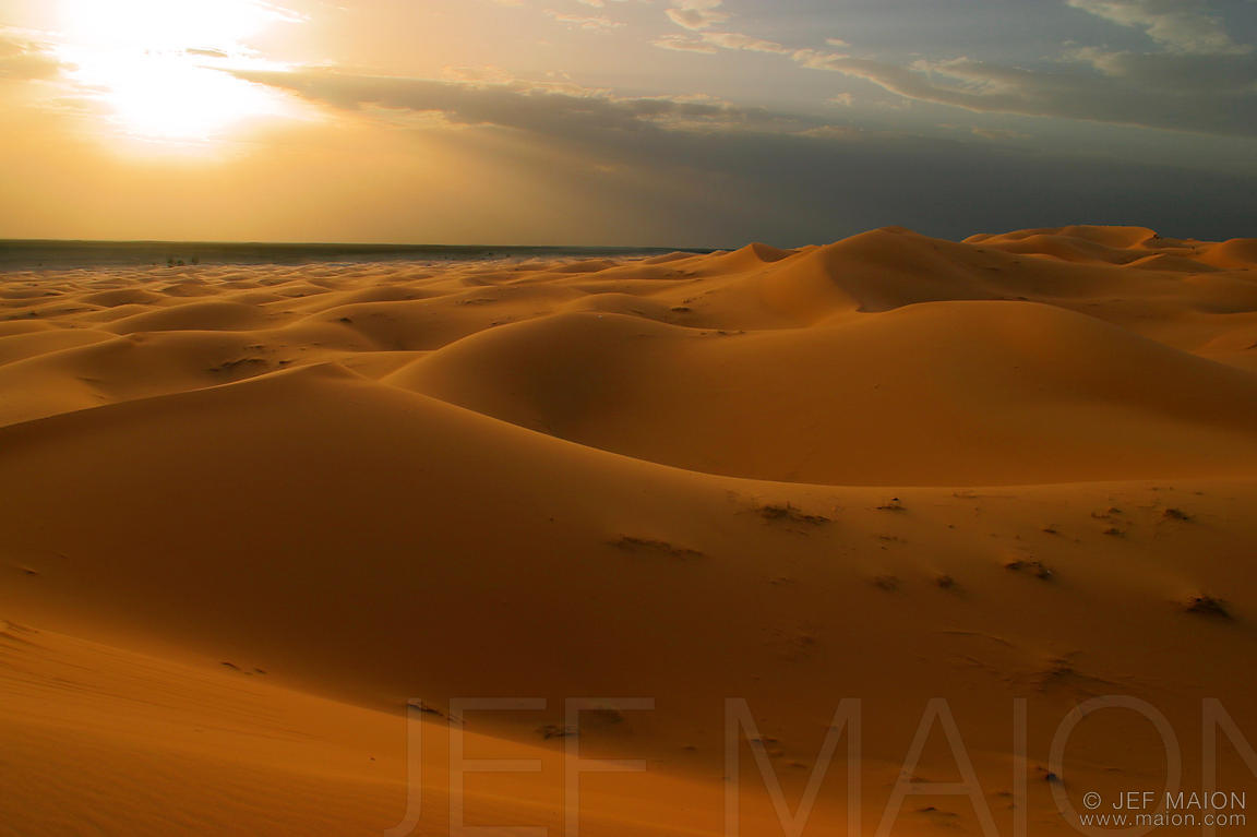 Late afternoon over sand dunes