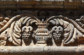 Detail of stone carvings of grape vine in courtyard of Casa de los Marqueses de Villaverde, La Paz, Bolivia