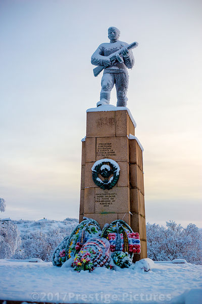 WWII Soviet Liberation Monument standing tall in Kirkenes