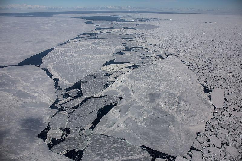 Aerial view of sea ice, near Cape Evans, Ross Island, Ross Sea, Antarctica.