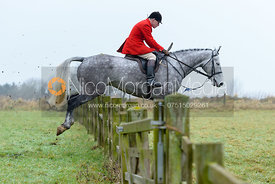 David Manning jumping a hunt jump at Goadby Hall