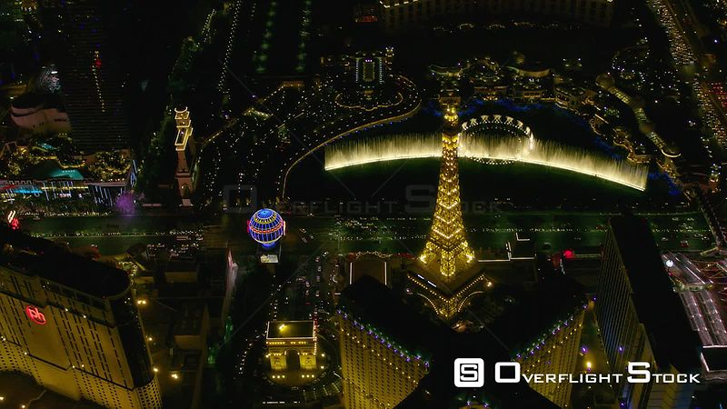 Paris Eiffel Tower Hotel and Fountain with Night Life of Las Vegas Nevada