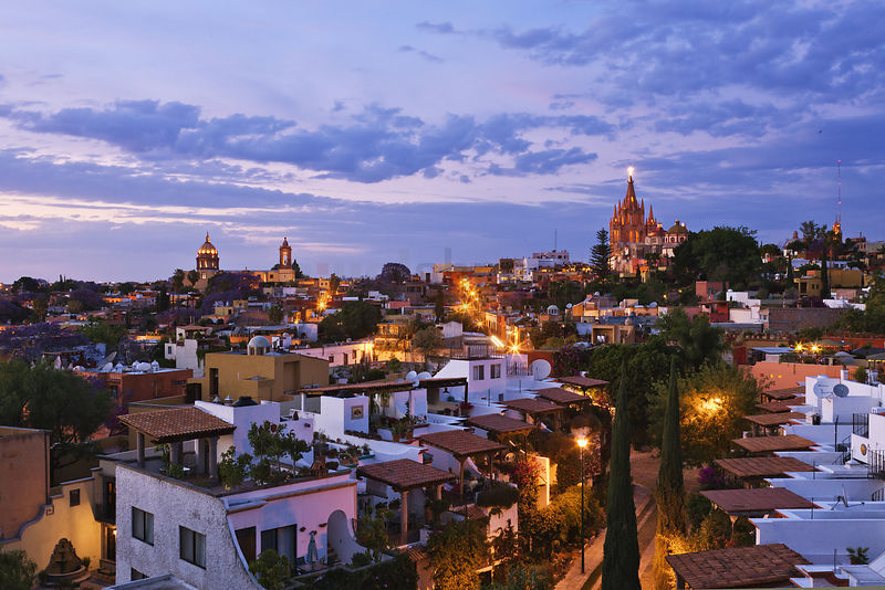 View of the Historic Center at Dusk