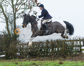 Sophie Brown jumping a hedge above Withcote