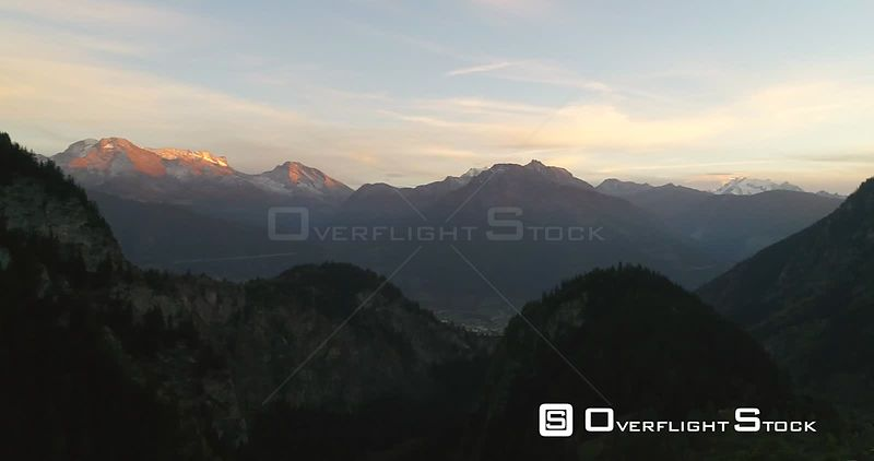 Alpine Landscape, 4k Aerial Pan View Over a MountaTown, Sunny Autumn Evening Dawn, Blatten,valais, Alps of Switzerland