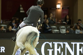 Bordeaux, France, 3.2.2018, Sport, Reitsport, Jumping International de Bordeaux - Prix HOTEL BURDIGALA .Trophée BORDEAUX METROPOLE. Bild zeigt Jur VRIELING (NED) riding Dallas VDL (5*)...3/02/18, Bordeaux, France, Sport, Equestrian sport Jumping International de Bordeaux - Prix HOTEL BURDIGALA .Trophée BORDEAUX METROPOLE. Image shows Jur VRIELING (NED) riding Dallas VDL (5*).