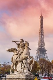 Statue of Renommee and Eiffel tower at sunset, Paris, France