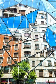 Health Department building with glass facade, Bilbao, Spain