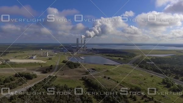 Smokestacks of Coal Fired Power Plant Fayetteville Texas