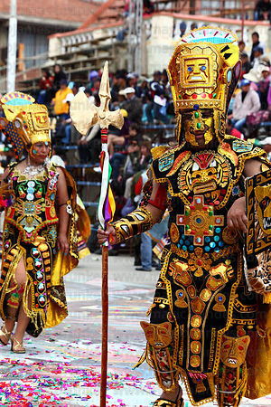 Inca warrior dancing at Oruro Carnival, Bolivia