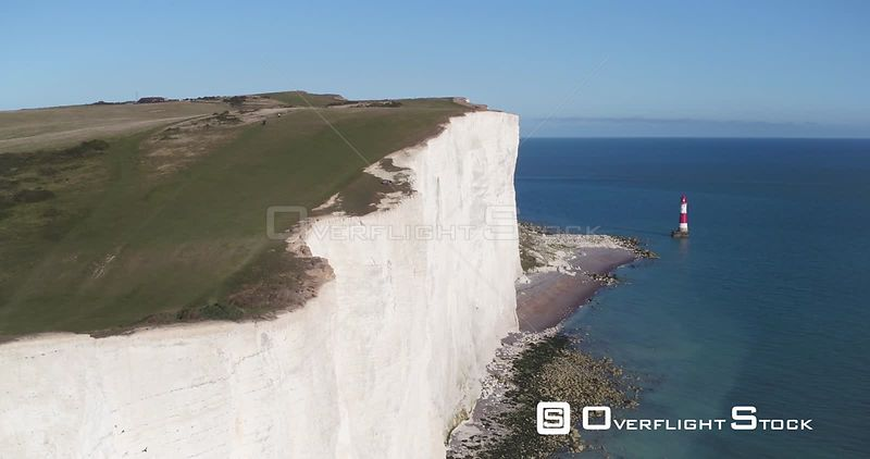 Aerial shot of Beachy Head cliffs and lighthouse, East Sussex, England, UK, September 2017.