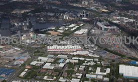 Manchester aerial photographs of The Village looking across Europa Way towards Manchester United Football Stadium Trafford Park Industrial Estate