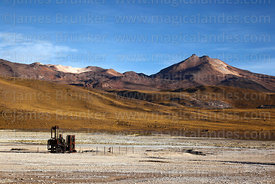 Machinery from old geothermal power project, El Tatio geyser field, Region II, Chile