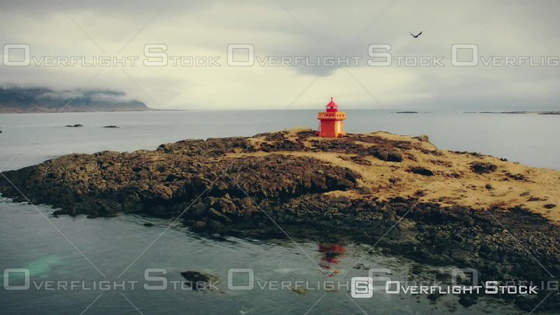 Orange Lighthouse in Iceland, Filmed by Drone, Djupavogshreppur, Iceland