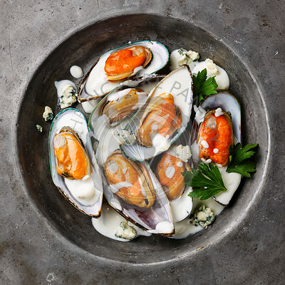 Shellfish Mussels Clams on plate with blue cheese sauce close-up