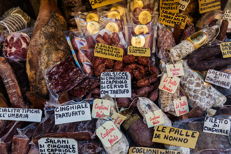 Italian Dried Meats in the Window of a Macelleria