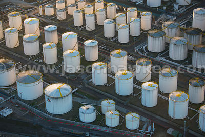 Aerial view of an oil storage depot at Thurrock Trade Park, Essex