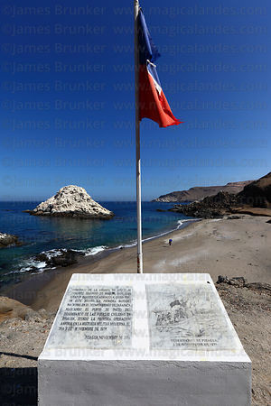 Monument commemorating the Chilean landing at Playa Blanca beach near Pisagua on 2 November 1879 , Region I , Chile