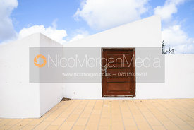 Royalty Free image of door to Spanish villa roof terrace