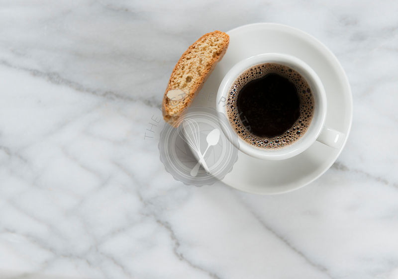 Black coffee on a marble worktop