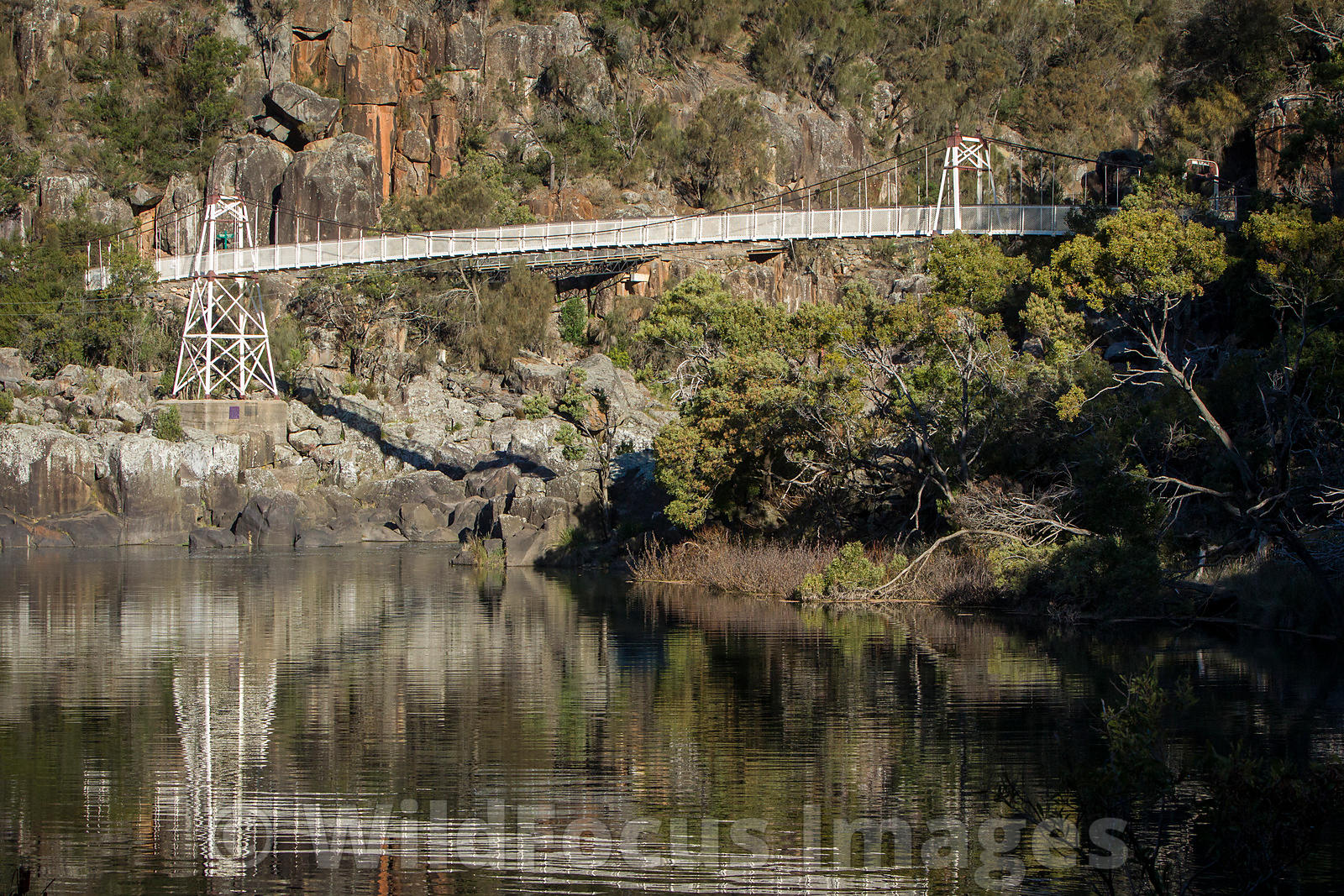 Alexandra suspension bridge at Cataract Gorge, Launceston, Tasmania, Australia; Landscape