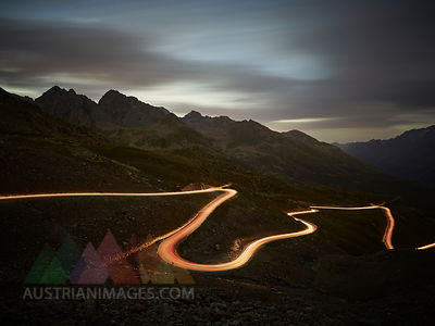 Austria, Tyrol, Kaunertal, road in the evening, light trails