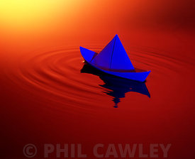 Paper boat floatiing on water