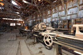 Old lathes inside machine room in abandoned nitrate mining town of Humberstone, Region I, Chile