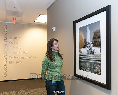 Framed Photography in office hallway