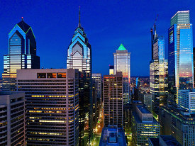 Sunrise Reflection in  Philadelphia Pennsylvania Downtown Skyline