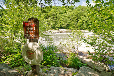 Water Danger Sign &  Life Preserver Youghiogheny River At Ohiopyle, PA