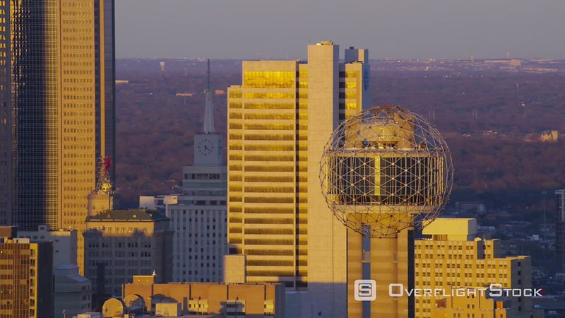 Dallas, Texas Aerial view of Dallas and Reunion Tower at sunset