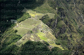 Aerial view of Machu Picchu site, seen from Huayna Picchu mountain, Peru
