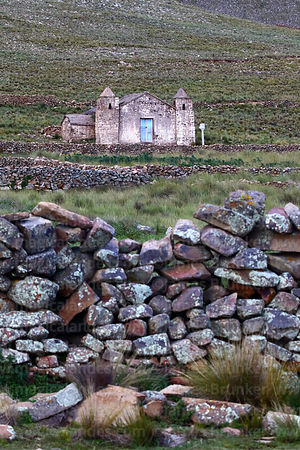 Rustic church at Puzjara, Cordillera de Sama Biological Reserve, Bolivia