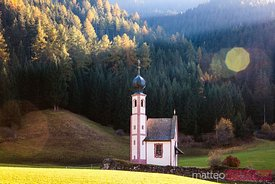 St Johannes church in autumn, Funes valley