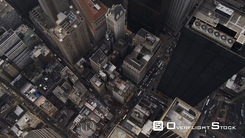 Steep look down into New York Financial District near WTC site.
