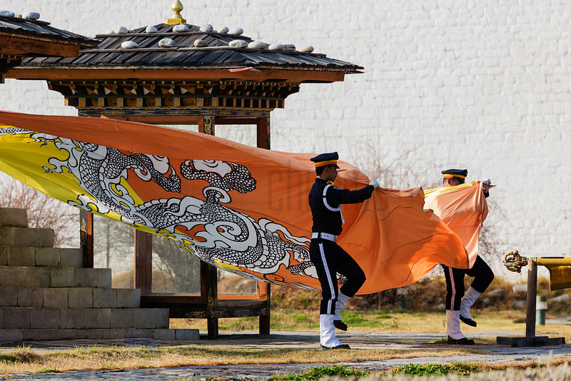 Afternoon Flag Lowering Ceremony at Thimphu Dzong