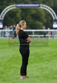 Anke Hoyer watching Jock's test on Clifton Promise - dressage phase,  Land Rover Burghley Horse Trials, 4th September 2014.