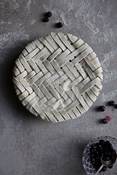 A lattice blueberry fruit pie ready for cooking