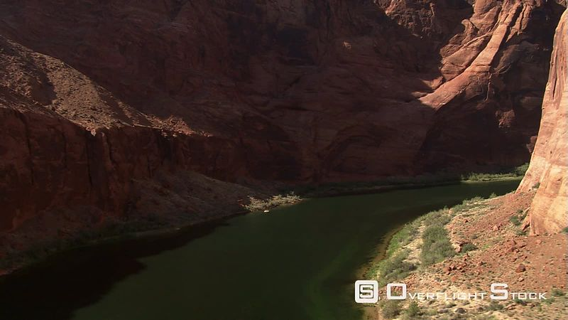 Flight following Colorado River's course through Arizona's Marble Canyon