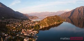 Panoramic sunset on lake Como, Lombardy, Italy